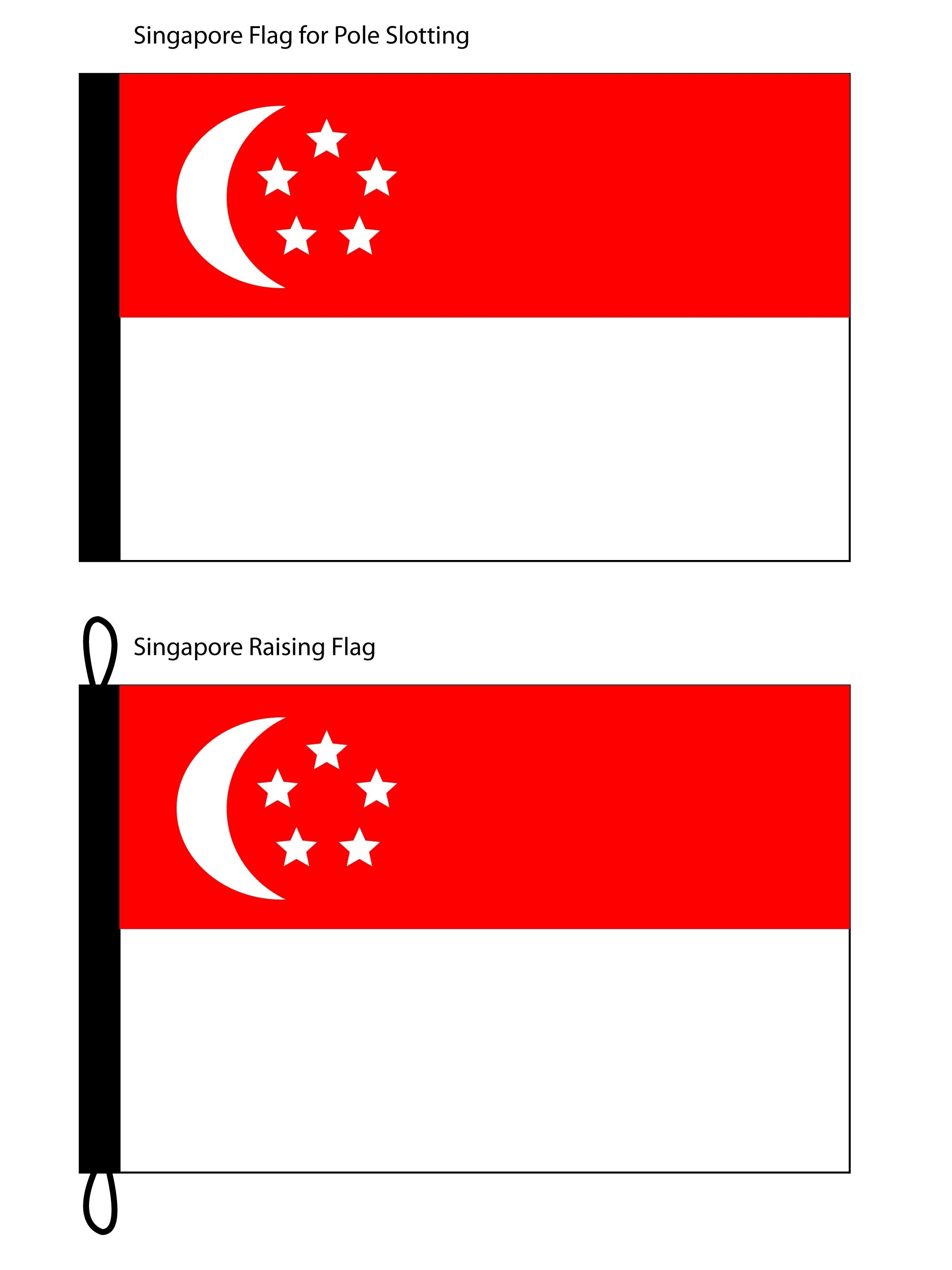 Singapore Flag (Thicker Polyester Fabric) for both pole slotting and flag raising type