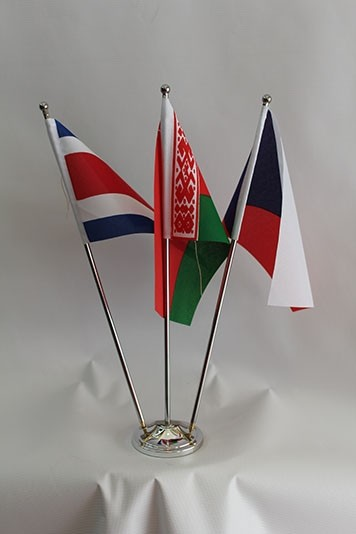 Country Table Flag C/W Triple Metal Chrome Stand & Base